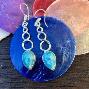 """Jewelry - 🆕🆕🆕✨LARIMAR + SILVER DANGLING DROP EARRINGS 2""""✨"""